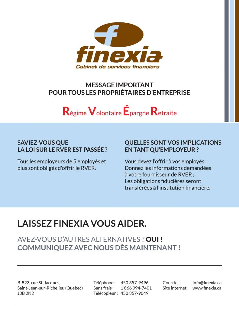 Publipostage finexia chambre de commerce et de l for Chambre de commerce du haut richelieu