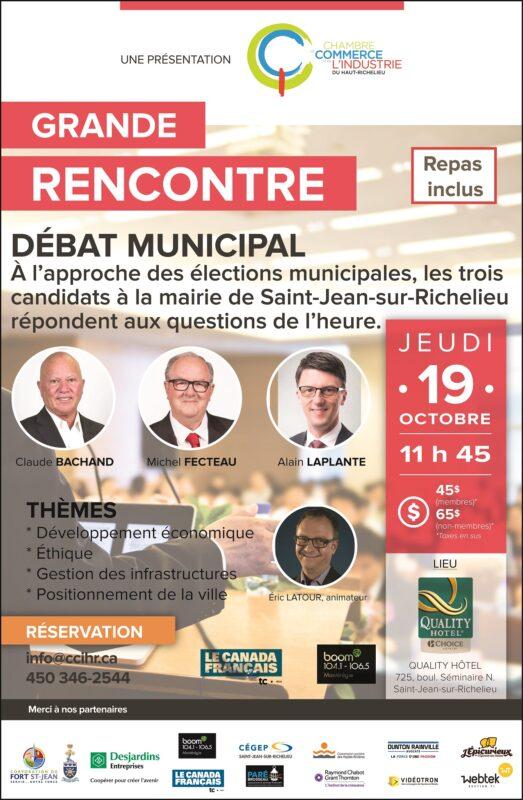 Les candidats la mairie d battront la ccihr chambre for Chambre de commerce du haut richelieu